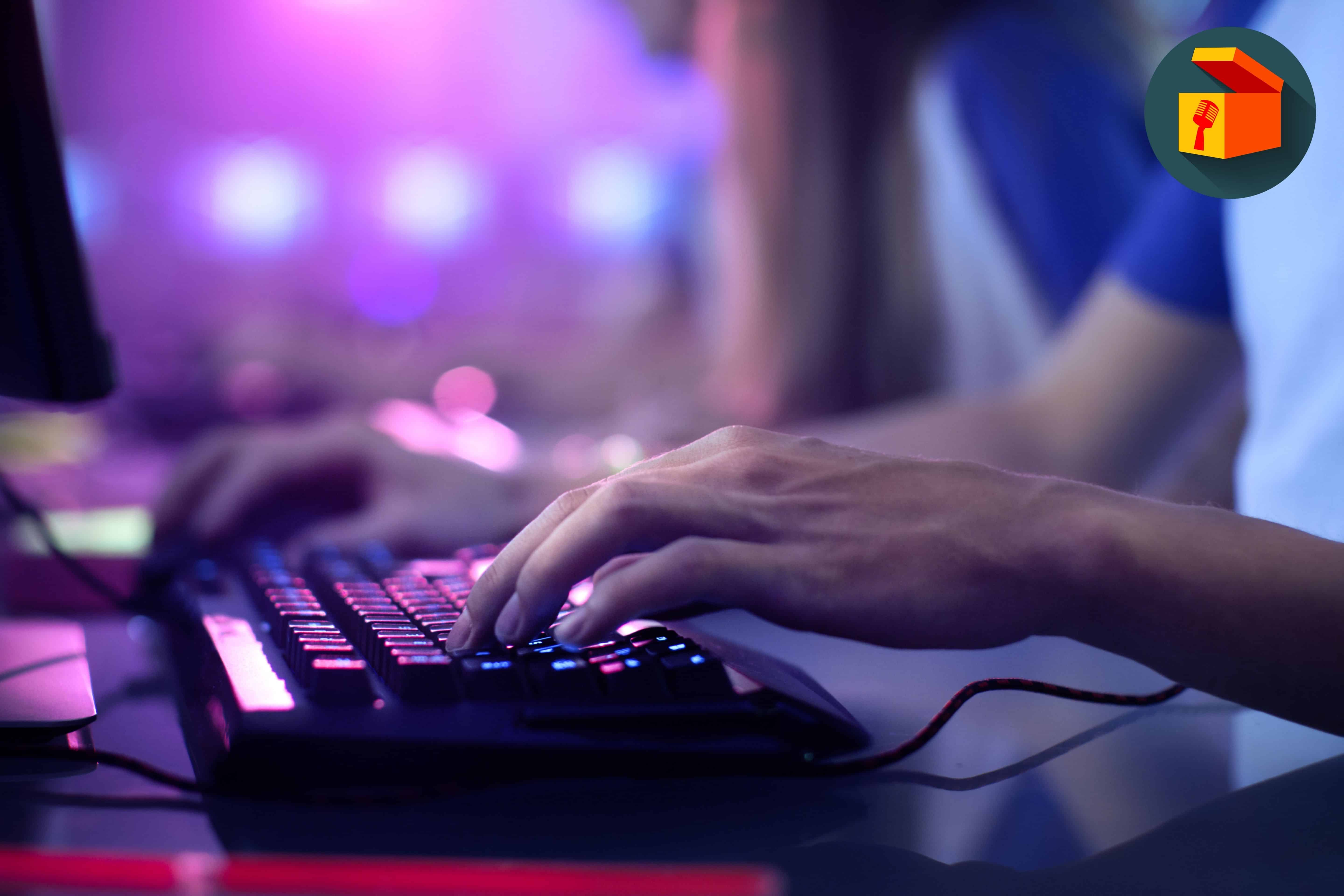 person playing on computer keyboard